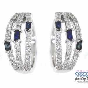 Blue Sapphire Diamond Fancy Earrings White Gold